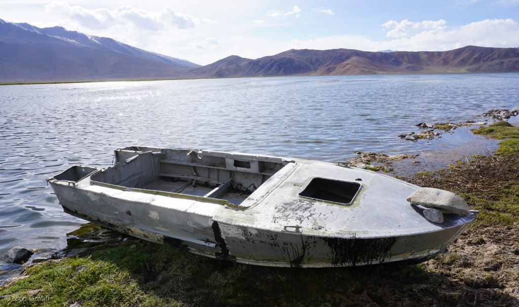 Aluminium Boat of soviet times at Lake Bulunkul